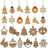 WILLBOND 23 Stücke Weihnachtsbaum Hängen Mini Ornamente Lebkuchen Haus Schneeflocke Schneemann Rentier Weihnachten Hängen Anhänger Ornamente für Weihnachtsfest Dekoration, 17 Stile