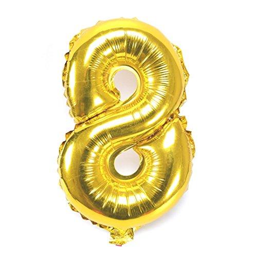 Souarts Ballon Gonflable Forme Chiffre 8 pour Anniversaire Fete Mariage Enfant Couleur Dore 45cmx28cm 1PC