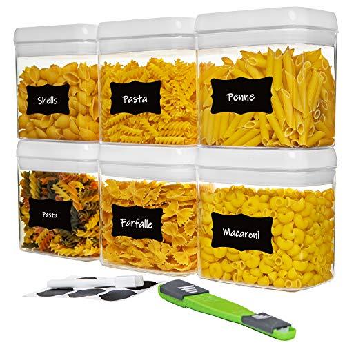 NOLOSHA - Set di 8 contenitori ermetici per alimenti, resistenti e senza BPA, ideali per pasta, biscotti, snack, noci, 1,5...