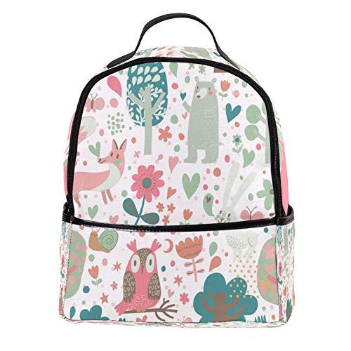 ATOMO Casual Mini Backpack Cute Animals Fox Rabbits Pattern PU Leather Travel Shopping Bags Daypacks