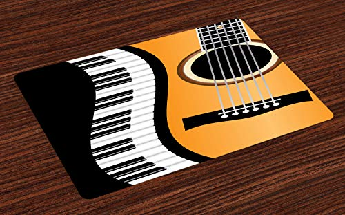 ABAKUHAUS Muziek Placemat Set van 4, Sleutels van de piano Wave and Guitar, Wasbare Stoffen Placemat voor Eettafel, Charcoal Grey Orange