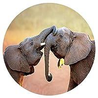 大人のための1000個のパズルホームアールデコ絵画を再生する2つの象の赤ちゃん円形パズル