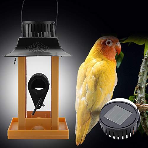 Alimentador de aves, alimentador de pájaros de plástico con energía solar de PVC 12 * 12 * 23 cm (amarillo)