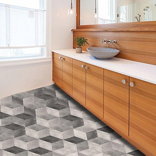 XOSHX 10 stuks * 20 cm * 23 cm gradiënten grijs cement patroon badkamer, keuken, woonkamer zeshoekige decoratieve tegels muurstickers