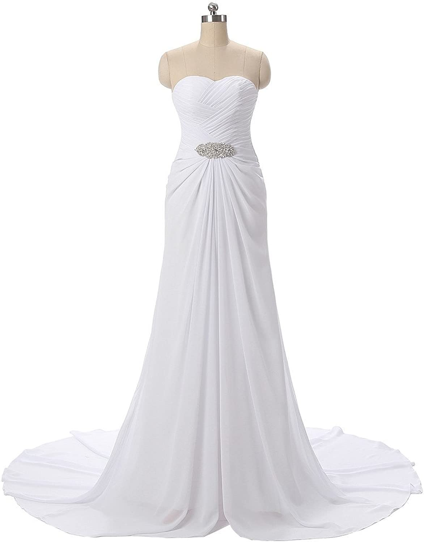 Drasawee Trailing Wedding Dress Maxi Strapless Waist Pearl Evening Gowns