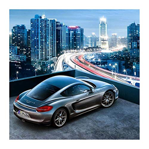Full Diamond Painting Cross Stitch 3D Sports car and City Night View Diamond Mosaic Embroidery DIY Home Decoration(60 * 90cm)