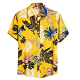 Herren Funky Hawaiihemd | Kurzarm | Front-Tasche | Hawaii-Print | Beach | Der Strand | Hawaii Hemd | Gelb