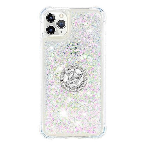 Phcases Funda para iPhone 11 Pro MAX(6.5 Inch), 3D Bling Brillante Glitter Carcasa Silicona Gel TPU Flexible Cover Crystal Clear Case Transparente Protectora Blanda Caso Caja Cubierta-Blanco.