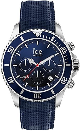ICE-WATCH - ICE steel Marine Chrono - Blaue Herrenuhr mit Silikonarmband - Chrono - 017929 (Medium)