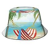Fisherman Senderismo Sombrero de ala ancha, Hamaca entre palmeras en la playa Estilo de dibujos animados Ilustración Composición Digital