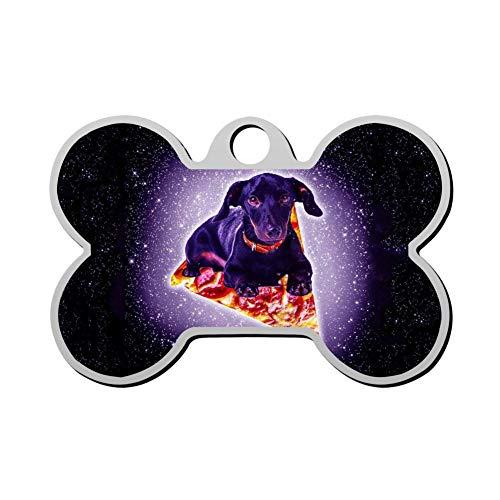 Aanpasbare Bone Shape ID Tags, Galaxy Pizza Hond Vliegen Gepersonaliseerde Dubbelzijdige Gedrukte Huisdier Informatie Kraag voor Kat Hond