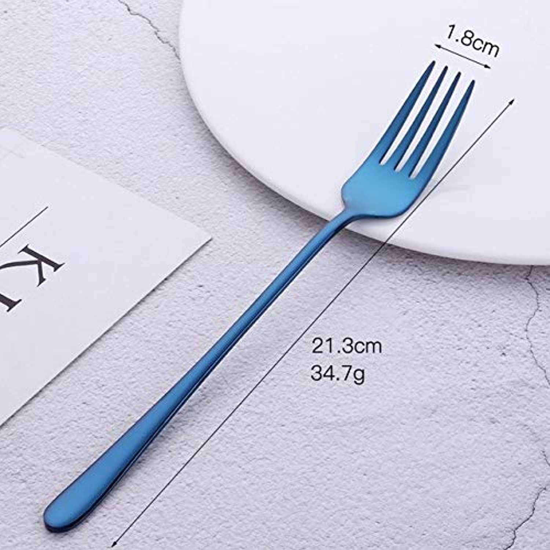 8 Pcs 18 8 Stainless Steel Long Handled 9 color Forks for Western Food Fruit Salad Dessert Flatware Mirror Polished Fork   bluee-8 Pcs