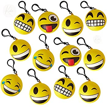 Kicko Emoticon Squish Backpack Clip - 12 Pack Emoticon Plush Keychain - Cute Emoji Keychain - Smiling Birthday Party Favors Supplies - Novelty Toys Prizes for Kids