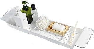 BlueSpace 浴槽トレイ キャディー ラグジュアリー シャワーオーガナイザー トレイ 本とワインホルダー付き サイド延長 バスルーム装飾 ホワイト