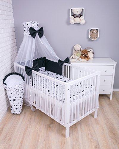 Amilian® Baby Bettwäsche 7tlg Bettset mit Nestchen Kinderbettwäsche Himmel 100x135cm Gute Nacht Schwarz (Chiffonhimmel)