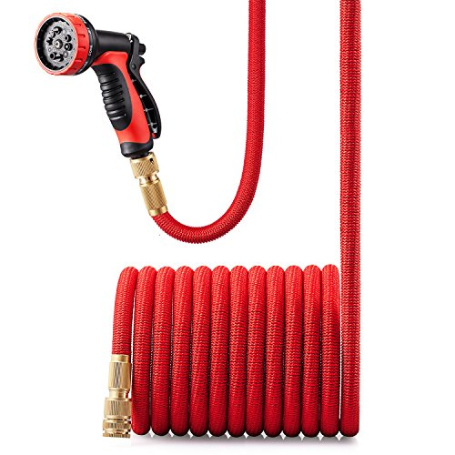 Expandable Garden Hose with Solid Brass Connector and 10 Pattern Spray Gun - 50FT(15M) Black