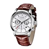 LIGE Men's Watches Fashion Luxury Sport Analog Quartz Chronograph Watch for Male Classic Casual Waterproof Watch Brown White Leather Gents Dress Wristwatch
