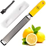 A MUST HAVE KITCHEN TOOL: Our Zester Grater will work for fruits like lemons, limes, parmesan, ginger, coconut, orange, chocolate, even spices like nutmeg, cinnamon or garlic. HIGH-QUALITY STAINLESS STEEL BLADE: The blade of this grater lemon zester ...