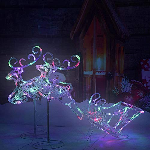 Pre-Lit LED Light Up Double Reindeer and Sleigh Set, Acrylic Christmas Holiday Figures Decoration for Lawn Garden Indoor Outdoor Use (Multi)