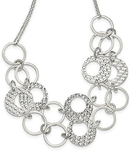 Sterling Silber Texturierte 2 rand Kreise Halskette mit 2  Ext 43