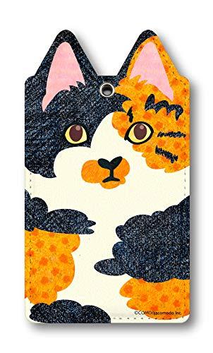 como コモ デザイン 猫型パスケース 75cm伸びるリールカラビナ付き定期入れ+同じデザインのマグネットステッカー Mag-como-neko-009 かわいい ネコ 猫耳 定期ケース 三毛猫