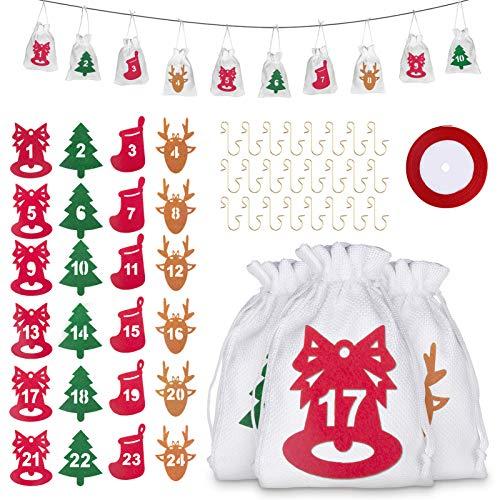 Kiiwah 24pcs Borsa Natalizia Sacchetto Regalo di Natale Coulisse Biscotto Caramella Sacchetto Festa di Natale con 24pcs Ganci di Ornamento di Natale e 24 Adesivi Numerici