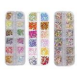 3 Cajas Nail Art Set, Rodajas de Frutas, Lentejuelas de uñas Decoración, Lentejuelas coloridas de brillo de uñas, Purpurinas Confeti Uñas Nail Art Glitter Brillos para Manicura y Diseños de Uñas