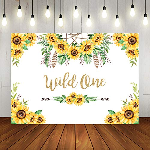 Wild One Sunflower Theme Backdrop Happy 1st Birthday Dreamcatcher Party Photo Background Rustic Boho Theme First Birthday Party Decorations Banner Photo Booth Props 7x5ft