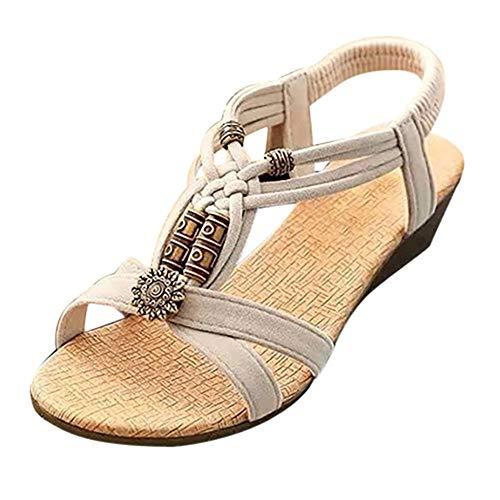 LWYY Damensandalen,Weiße Sommerschuhe Mode Frauen Sandalen Elastic Band Beach Flat Mit Schnürsandalen Rom Weibliche Runde Zehen Schuhe, 40