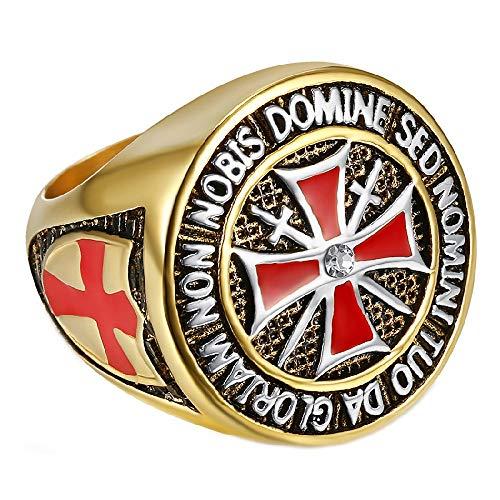 BOBIJOO JEWELRY - Anillo Sortija De Sello De La Orden, Los Caballeros Templarios, El Hombre Dorado De Oro De La Cruz Roja De Acero Inoxidable - 14 (7 US), Dorado - Acero Inoxidable 316