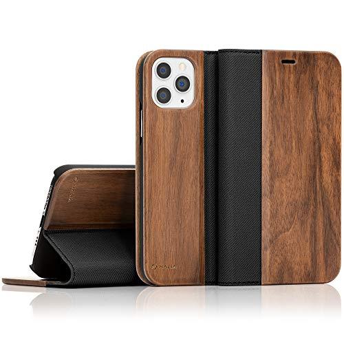 NALIA Echt-Holz Flipcase kompatibel mit iPhone 11 Pro Max Hülle, Premium Wood Etui Handyhülle mit Klappe, Handy-Tasche Phone Case Cover Schutzhülle Flipcover Klapphülle Rundum Schutz Bumper - Walnuss