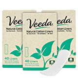 Veeda Ultra Thin Natural Cotton Breathable Daily Liners are Always Chlorine and Toxin Free, Hypoallergenic, 40 Count (Pack of 3)