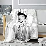 Manta Sherpa 3D AudreyHepburn Manta de Aire Acondicionado de Vacaciones Romanas Manta con Estampado de Actriz británica Manta Suave de vellón para Ancianos 120x150cm