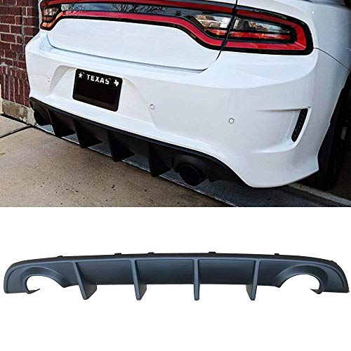 Rear Bumper Diffuser PP Compatible with 2015-2019 Dodge Charger Scat Pack Daytona SRT OE Style Rear Lip Bumper Valance Diffuser Polypropylene Black