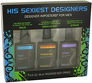 Designer Imposters Mascolino by Parfums De Coeur Gift Set - Sexiest Designers Set Includes Rule Mascolino and Strike all in 1.5 oz Body Sprays Men