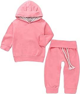 BELS 学步女童衣服裤套装粉色兔子连帽运动衫上衣带裤子套装