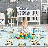 Caroma Alfombra de juego para bebés, alfombra para gatear Alfombra de juego plegable para el suelo Espuma XPE impermeable y no tóxica para niños pequeños Gateadores (78.7''x70.9''x0.6'', Panda)