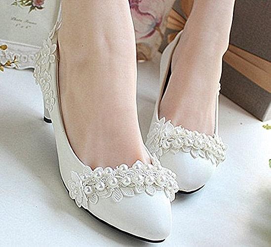 JINGXINSTORE Perles dentelle blanche chaussures de mariage bustier bas haut talons Talon pompe