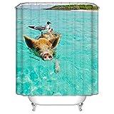 Abellale Polyester Duschvorhänge Schwein Vogel Design Duschvorhang Bunt Badvorhang 120x180CM