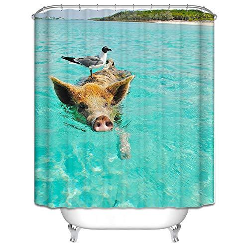 ANAZOZ Duschvorhang Wasserdicht Anti-Bakteriell Anti-Schimmel Badezimmer Gardinen Waschbar mit 12 Duschvorhangringen Polyester Schwein & Vogel Bad Vorhang für Badezimmer 150X200Cm C5110