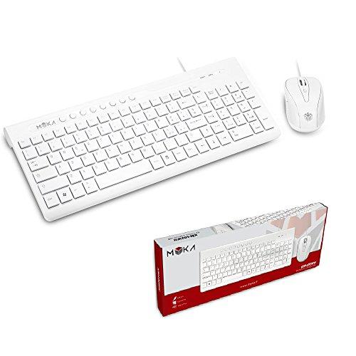 MYKA Kit de teclado y ratón con cable USB 2.0 blanco blanco...