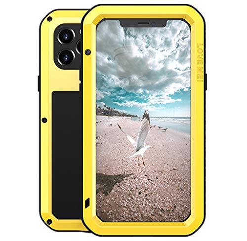 Love Mei para iPhone 12 Pro Funda, Impermeable Militar Antichoque a Prueba de Polvo Cubierta Híbrido Metal Aluminio+Silicona Antigolpes Carcasa con Vidrio Templado para iPhone 12 Pro (Amarillo)
