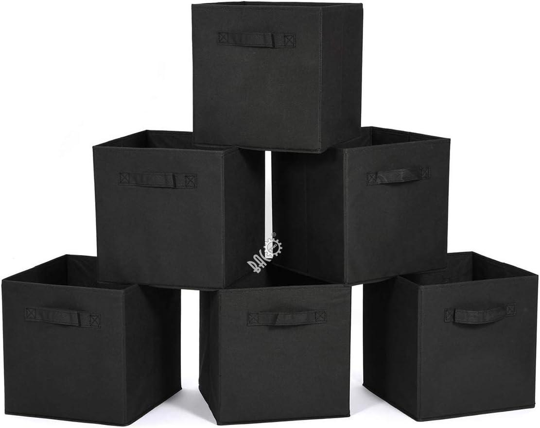 BRIAN & DANY Cubos de almacenamiento plegables Caja de Almacenaje, pack de 6, Negra, 31 x 31 x 31 cm