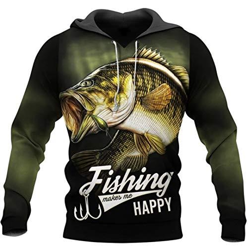 Pesca para Mujer para Hombre Arte Animal Harajuku Casual chándal Divertido 3D Imprimir Camisas/Camisetas/Chaqueta Beige L