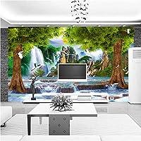 写真の壁紙3D立体空間カスタム大規模な壁紙の壁紙 森の滝の壁の装飾リビングルームの寝室の壁紙の壁の壁画の壁紙テレビのソファの背景家の装飾壁画-280X200cm