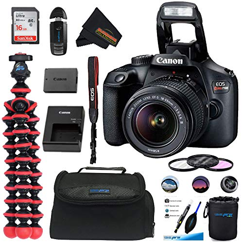 Buy Discount Canon EOS T100 DSLR Camera with 18-55mm III + 16GB SD Card + Sunshine Basic Bundle