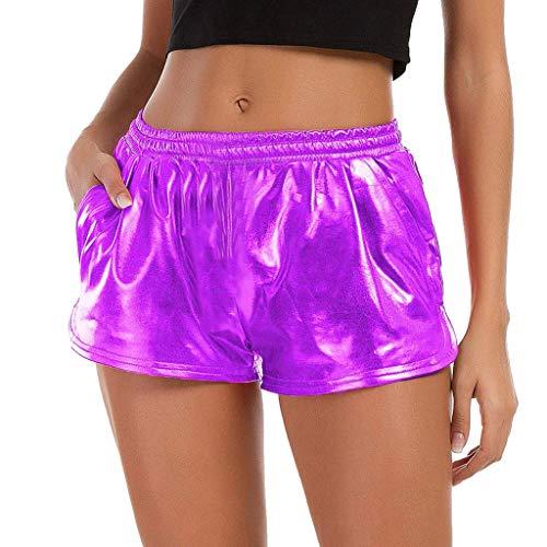 KUDICO Damen Shorts Sommer Shiny Pailletten Hotpants Metallic Locker Hohe Taille Yoga Sporthose Einfarbige Tasche Leder Shorts Hose Sommerhosen Pants Kurz Hosen Leggings(Lila, XX-Large)