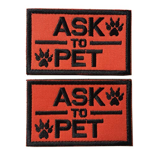 Set of 2 Service Dog/Ask to Pet Embroidered Tactical Patch Badge for Dog Pet Tactical K9 Harness Vest (Ask to Pet Orange)