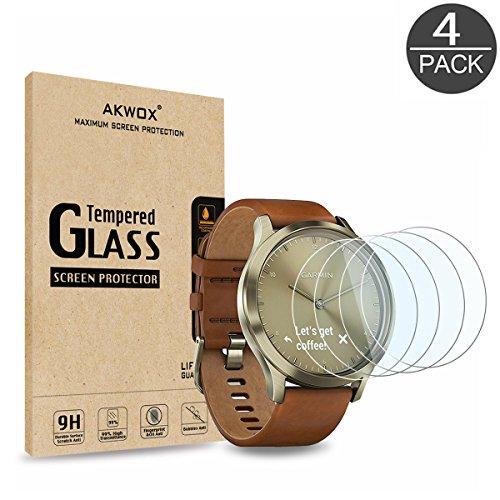 AKWOX [4 Unidades] Protector de Pantalla para Garmin Vivomove HR, [9H Dureza] Cristal Vidrio Templado para Garmin Vivomove HR Cristal Templado