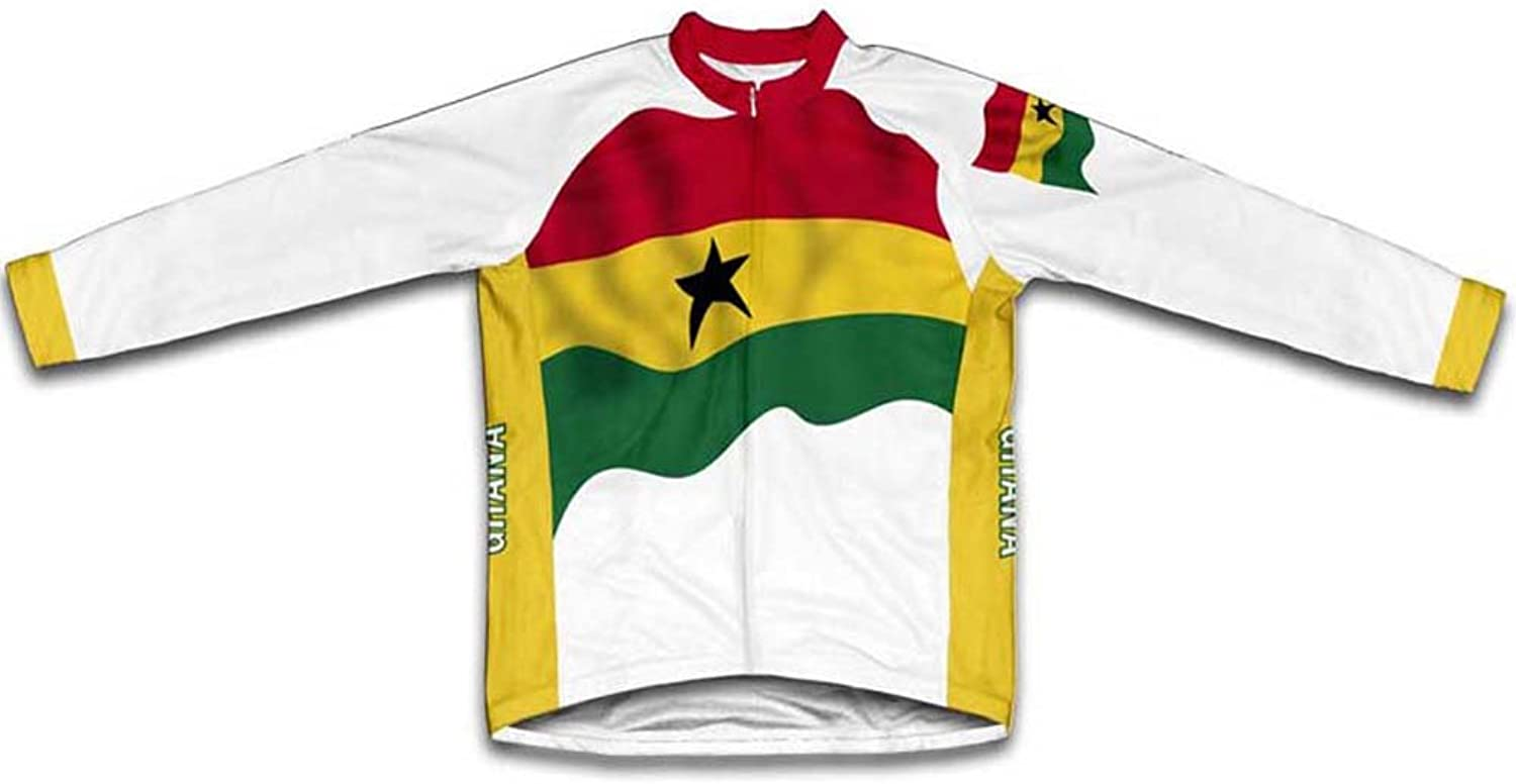 Ghana Flag Winter Thermal Cycling Jersey for Women